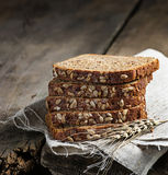 Sliced rye bread with sunflower seeds Stock Image