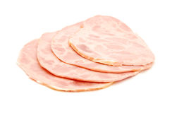 Sliced salami. Isolated ion white royalty free stock photo