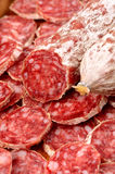 Sliced salami Stock Photo