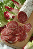 Sliced salami. Sliced italian salami on cutting board Stock Image