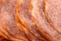 Sliced salami background Royalty Free Stock Image