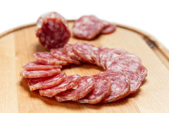 Sliced salami in circle shape Stock Photography