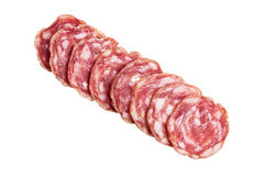 Sliced salami directly above Royalty Free Stock Image