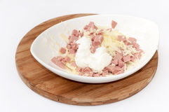 Sliced salami with grated cheese in the bowl Royalty Free Stock Images