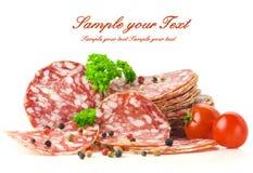 Sliced salami Stock Images