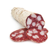 Sliced salami isolated on white Royalty Free Stock Image