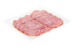 Sliced salami packaging Royalty Free Stock Image