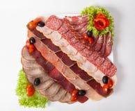 Sliced salami, parma, and ham Royalty Free Stock Photos