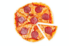 Sliced salami pizza Stock Photography