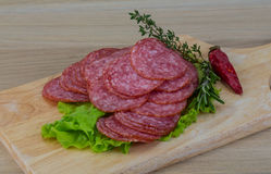 Sliced salami. With salad leaves and rosemary royalty free stock images