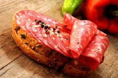 Sliced salami or salchichon called in spain Stock Photo