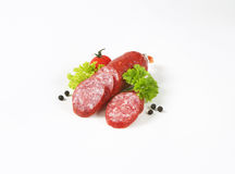 Sliced salami sausage and vegetables Royalty Free Stock Image