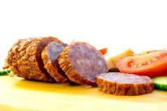 Sliced Salami. Salami Smoked Sausage with Slices royalty free stock photography