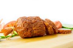 Sliced Salami. Salami Smoked Sausage with Slices stock image