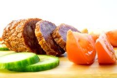 Sliced Salami. Salami Smoked Sausage with Slices stock photos