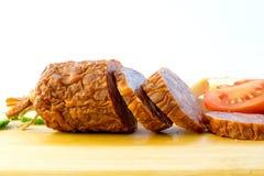 Sliced Salami. Salami Smoked Sausage with Slices royalty free stock photo