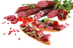 Sliced salami Royalty Free Stock Images