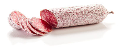 Sliced salami. On a white background stock images