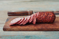Sliced salami Royalty Free Stock Image