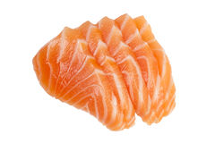 Sliced salmon. Slices of raw salmon used in sashimi isolated on white background Royalty Free Stock Images