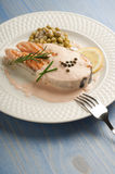 Sliced salmon with cream sauce Royalty Free Stock Images