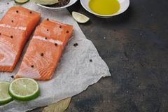 Sliced salmon fillet on a baking paper. Fresh raw fish and  lime and spices, ingredients. Metal black background Stock Images