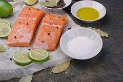 Sliced salmon fillet on a baking paper. Fresh raw fish and  lime and spices, ingredients. Metal black background Royalty Free Stock Photography