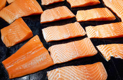 Sliced salmon meat Stock Images