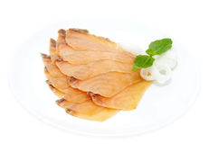 Sliced salmon meat Stock Photography