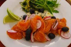 Sliced salmon on a plate, decorated with black olives, radishes and greens royalty free stock photography