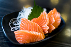 Sliced salmon sashimi, Japanese raw food delicious menu, famous fish from Norway Stock Images
