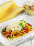 Sliced salt-cod on a bed of piperade Royalty Free Stock Image