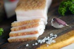Sliced salted pork lard close up Stock Photos
