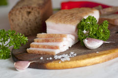 Sliced salted pork lard (salo) Stock Photography