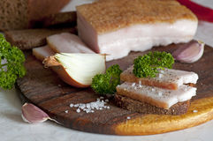 Sliced salted pork lard (salo) Stock Images