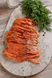 Sliced salted salmon Royalty Free Stock Photography