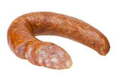 Sliced sausage. Sliced sausage on a white background isolated. This has a clipping path Stock Image