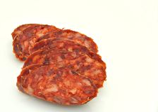 Sliced ​​sausage Stock Images