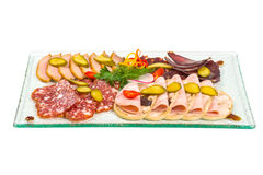 Sliced sausage appetizers Royalty Free Stock Image