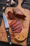 Sliced sausage chorizo Stock Photo