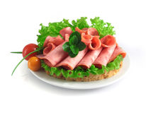 Sliced sausage with herbs and vegetables on a white plate. Royalty Free Stock Images