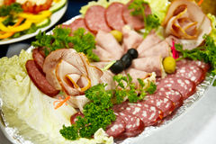 Sliced sausage and meat Stock Images