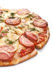Sliced sausage and onion pizza Royalty Free Stock Images