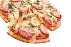 Sliced sausage and onion pizza Royalty Free Stock Photography
