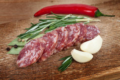 Sliced sausage spices and garlic on a board Royalty Free Stock Photo