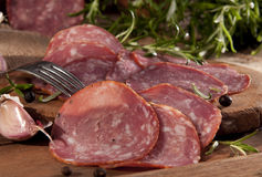 Sliced sausage Stock Images