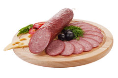 Sliced sausage with vegetables Royalty Free Stock Photo