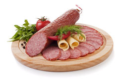 Sliced Sausage With Vegetables Isolated Stock Image