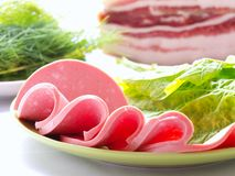Sliced sausages Stock Photo
