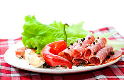 Sliced ??sausages  with vegetables Stock Photo
